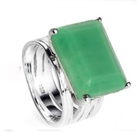 Neola Pietra Sterling Silver Cocktail Ring Chrysoprase