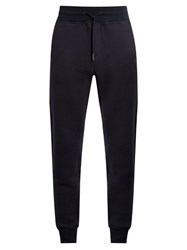 Moncler Logo Applique Slim Leg Cotton Blend Track Pants Navy