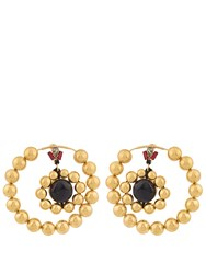 Marni Metallic Gold Double Hoop Earrings Gold Multi