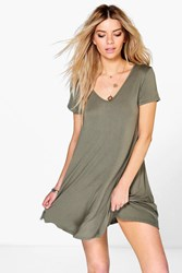 Boohoo V Neck Cap Sleeve Swing Dress Khaki