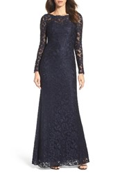 La Femme Women's Embellished Floral Lace Gown Navy