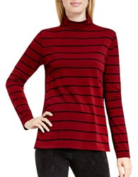 Vince Camuto Anchor Stripe Mock Neck Swing Top Red