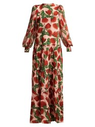Adriana Degreas Fiore Tiered Floral Print Silk Dress Pink Print