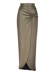 Jane Norman Metallic Split Maxi Skirt Gold