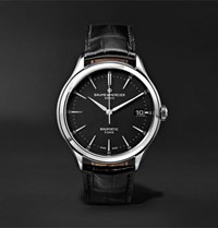 Baume And Mercier Clifton Baumatic Automatic 40Mm Stainless Steel Alligator Watch Black