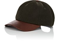 Crown Cap Wool Blend And Leather Baseball Dk. Green