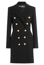 Balmain Wool Cashmere Double Breasted Coat Black
