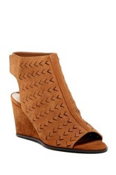 Via Spiga Leatrice Perforated Wedge Sandal Brown