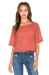 Obey Sun Bloom Crop Top Rust