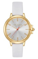 Ted Baker London Leather Strap Watch 36Mm White Silver Gold