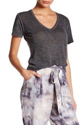 Young Fabulous And Broke V Neck Short Sleeve Linen Tee Gray
