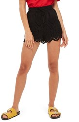 Topshop Petite Women's Broderie Anglaise Shorts Black