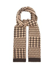 Allude Houndstooth Knitted Wool Blend Scarf Brown