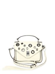 Rebecca Minkoff Mini Darren Leather Messenger Bag Antique White Black