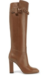 Valentino Braid Trimmed Leather Knee Boots Tan