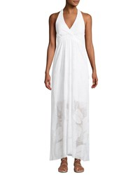 Letarte Palm Lace Halter Coverup Maxi Dress White