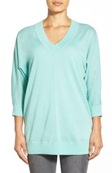 Women's Nordstrom Collection Dolman Sleeve V Neck Cashmere Sweater Green Wave