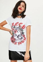 Missguided White Skull Graphic T Shirt