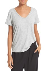 Vince Women's Relaxed V Neck Tee Heather Grey