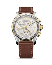 Victorinox Swiss Army Two Tone Bezel With Leather Strap 41 Mm Silver Brown
