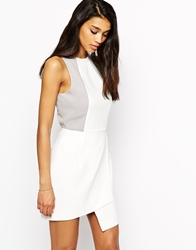 Max C London Max C Dress With Panel Detail And Asymetric Hem White