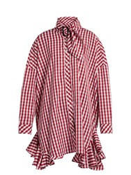 House Of Holland Ruffle Trimmed Gingham Shirtdress Red White