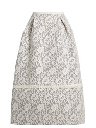 Erdem Kennedy Floral Lace Skirt Grey White