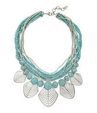 Lucky Brand Turquoise And Openwork Bib Necklace Silver Necklace