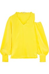 Tibi Cutout Ruffle Trimmed Silk Crepe De Chine Blouse Yellow