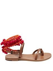 Alvaro Anna Pompom Embellished Leather Sandals Red Multi