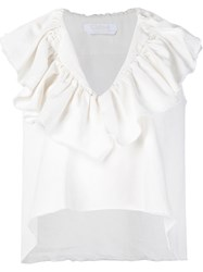 Chloe Ruffle Collar Sleeveless Top White