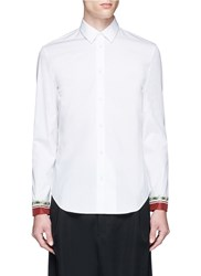 Maison Martin Margiela Silk Satin Cuff Cotton Poplin Shirt White