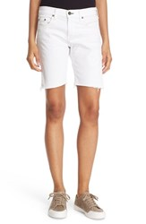 Rag And Bone Women's Rag And Bone Jean Cutoff Denim Walking Shorts Aged Bright White