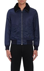 Rag And Bone Men's Bayes Shearling Trimmed Bomber Jacket Navy