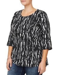 Junarose Three Quarter Sleeve Nilan Printed Blouse Black White