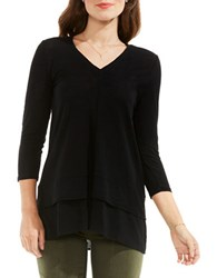 Vince Camuto Double Layer Mix Media V Neck Top Black