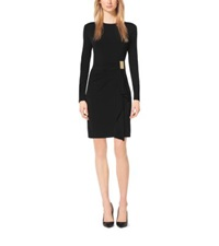 Michael Kors Gathered Matte Jersey Dress Black Gold