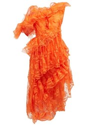 Preen By Thornton Bregazzi Cecilia Ruffled Floral Lace Dress Orange