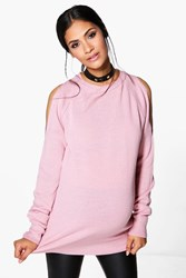 Boohoo Maternity Kristy Open Shoulder Slouchy Jumper Blush