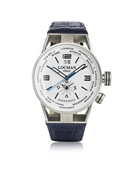Locman Montecristo Blue Stainless Steel And Titanium Dual Time Men's Watch W Leather Strap