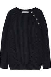 Balmain Pierre Button Detailed Ribbed Wool Blend Sweater Midnight Blue