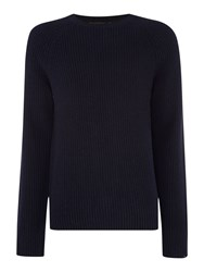Michael Kors Regular Fit Chunky Cashmere Mix Jumper Midnight
