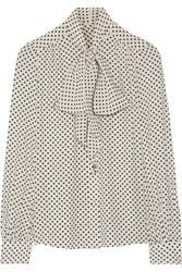 Marc Jacobs Pussy Bow Polka Dot Silk Crepe De Chine Blouse Off White
