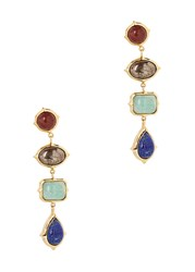 Isharya Temple Muse Gold Plated Earrings Multicoloured