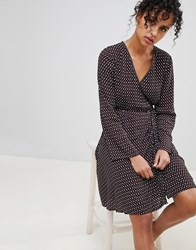 Pepe Jeans Lauren Printed Wrap Dress Navy