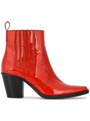 Ganni Callie Cowboy Boots Leather Patent Leather Rubber Red