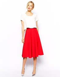 Closet Full Skater Skirt In Scuba Red