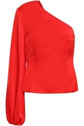 Solace London Woman Careen One Shoulder Satin Top Red