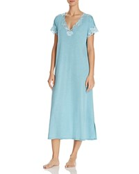Natori Zen Floral Trim Nightgown Heather Enamel Blue