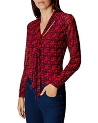 Karen Millen Printed Tie Neck Blouse Red Multi
